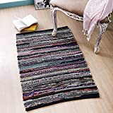 Cotton Hoisery Dark Multi Chindi Rugs 24x36 inch Dark Multi Color,Cotton Area Rugs,Indoor Out Door Rugs 2'x3',Rugs for Living Room, Machine Washable Rugs,Hand Woven & Kitchen Entryway Rug
