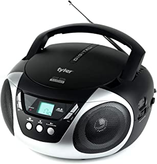Tyler TAU101-SL Portable Sport Stereo CD Player - Single Disc, Speakers, AM/FM Radio, Headphone Jack, Playback Function and Aux for iPod, Walkman, MP3 - Compact Size and Battery Power - Silver