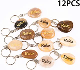 12PCS Relax RockImpact Inspirational Stone Key Chains, Engraved Natural River Rock Key Rings, Pocket Stone Keychain, Bulk Word Stone Wholesale Keyring, (Pack of 12, Relax)