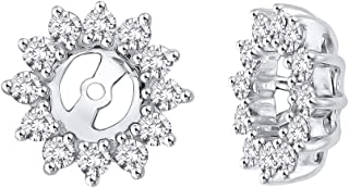 KATARINA Floral Diamond Earring Jackets in 14K Gold (1/2 cttw) (Color JK, Clarity I2-I3)