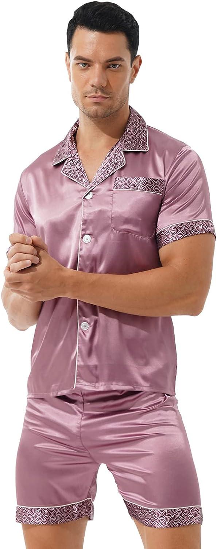 MSemis Men Satin Silk Pajamas Set Shorts Bottom Button Down Short Sleeve Shirt Nightwear Sleepwear Loungewear