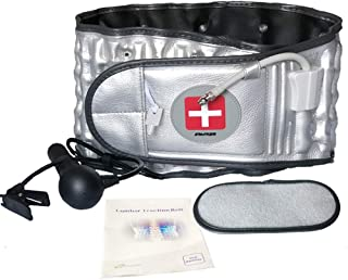 Physio Decompression Back Belt - Back Brace Lower Back Pain Relief Lumbar Support Belt at Home with Extension Belt, One Size for 29 inches to 49 inches Waists, Great Gift (Silver)