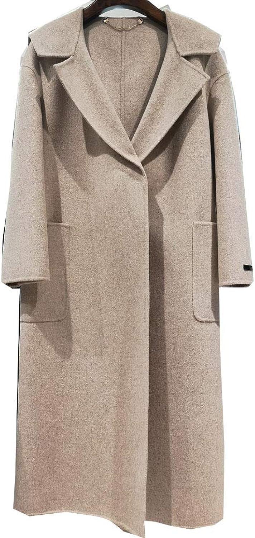 CG Women Lapel Long Woolen Sleeve Trench Coat Warm Jacket Oversize Overcoat 890G021
