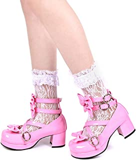 CHEESE RABBIT 2.4in High-Heeled Pink Lolita Shoes Sweet Round-Head Shoes Princess Butterfly Tie Dress Shoes Cosplay Shoes Mary Jane Shoes