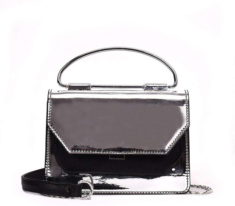 Umhängetasche Lackleder Lackleder Lackleder Spiegel Crossbody Handtasche Kette Tasche Mode Wild, rot (Farbe   Silber, Größe   -) B07L9SSWSK  Wert d7013f