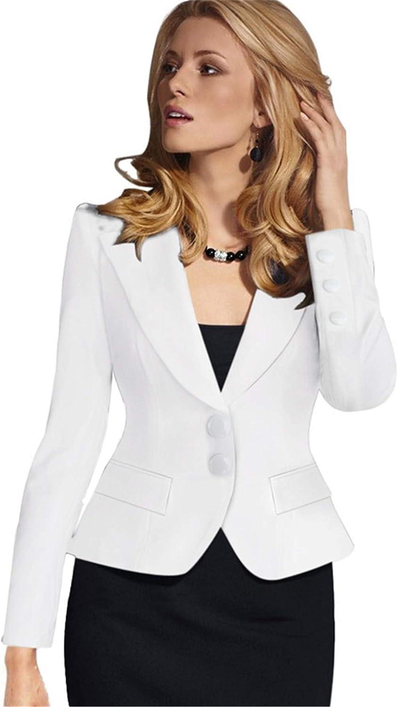 Andongnywell Women's Casual Button Lapel Work Office Long Sleeve Open Front Blazer Jacket Plus Size Jacket Overcoats