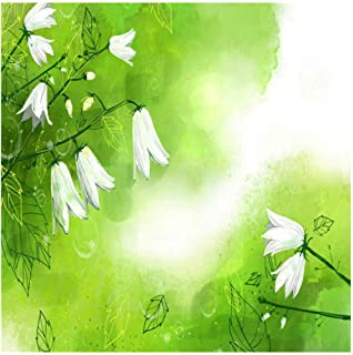 Yxjj1 3D White Lily of The Valley Wallpaper for Walls Green Fresh Wall Covering Living Room Home Decor TV Wall-300cm (W) x 200cm (H) (9'8 '' x 6'5 '') ft