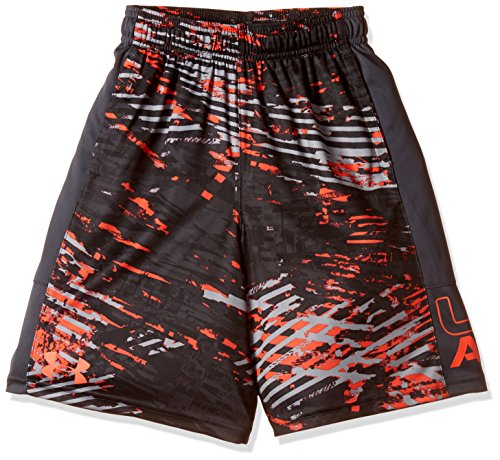 Under Armour Boys' UA Instinct Printed Shorts, Neon Coral/Stealth Gray, YL