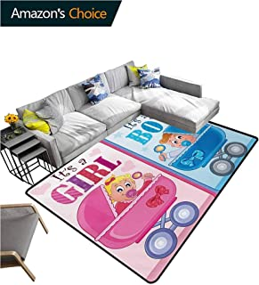 Gender Reveal Striped Area Rug Mat, Girl and Boy Baby Carriage Looking Newborn Announcement Theme Print Durable Carpet Area rug - Living Dinning Room Bedroom Rugs and Carpets, (6'x 9')