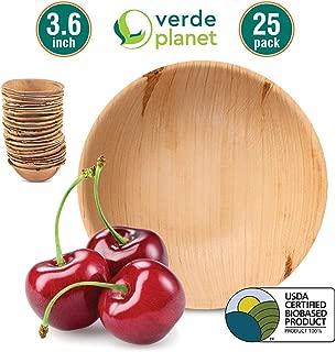 Verde Planet - 3.6 inch Round Palm Leaf Bowls - Biodegradable, Ecofriendly, Disposable, Sturdy, Elegant, Premium Quality Bowls, USDA Certified - 25 Count