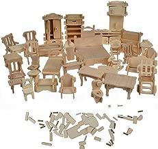 BOHS 1SET=34PCS Dollhouse Furnitures Set -Wooden 3D Puzzle - Miniature Models Doll House DIY Accessories - Ages 6 and Up