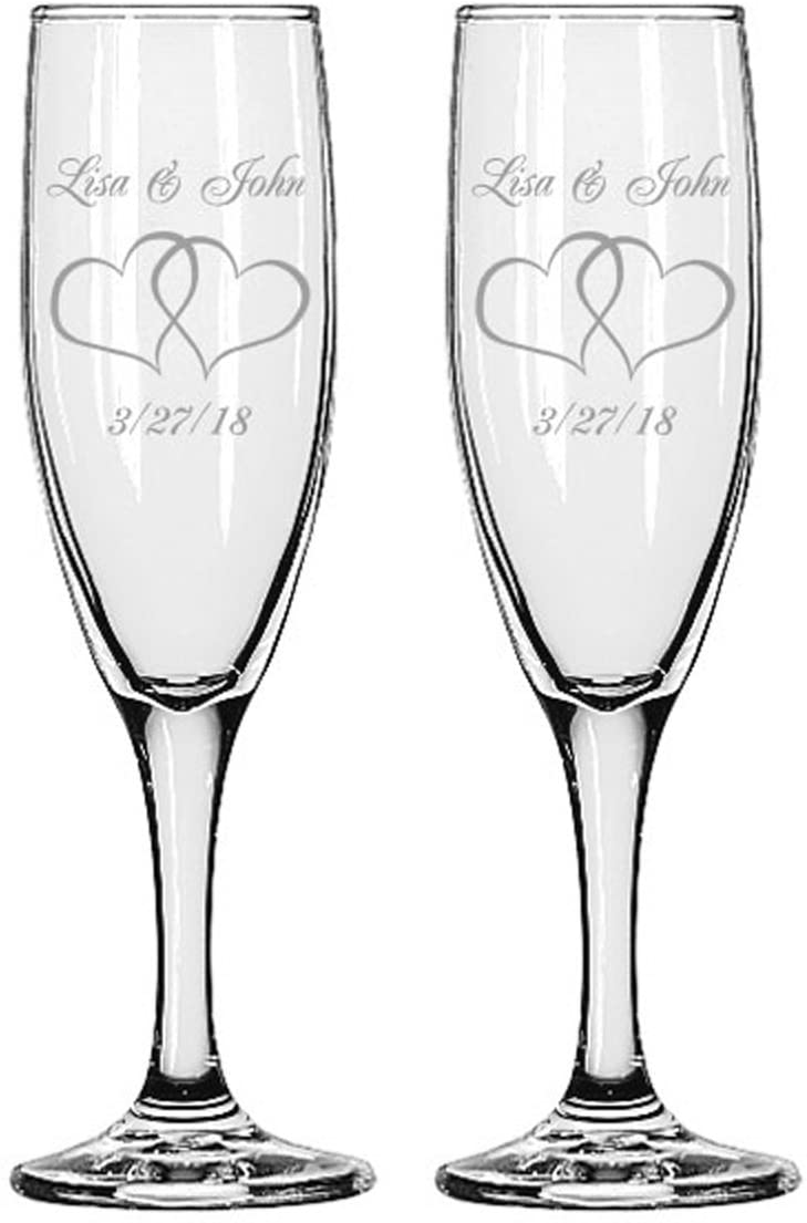 Gifts Infinity Engraved Wedding Interlock Hearts Champagne Flutes Set of 2 Personalized Toasting Glasses (Interlock Heart)