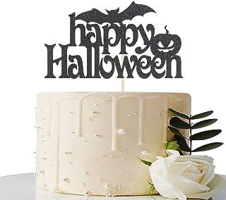 Black Glitter Happy Halloween Cake Topper - Halloween Party Decoration - Halloween Cake Decoration