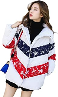LUKEEXIN Winter Fashion Lace Stitching Thickened Down Jacket for Women Girls