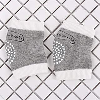 BEESCLOVER Children Mesh Cute Letters Cotton Terry Dispensing Anti-Slip Knee Pads Elbow Socks for Baby Gray