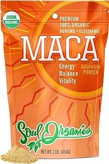 Soul Organics Maca Powder - USDA Organic and Gelatinized for Enhanced Bio-availability, 1 Pound
