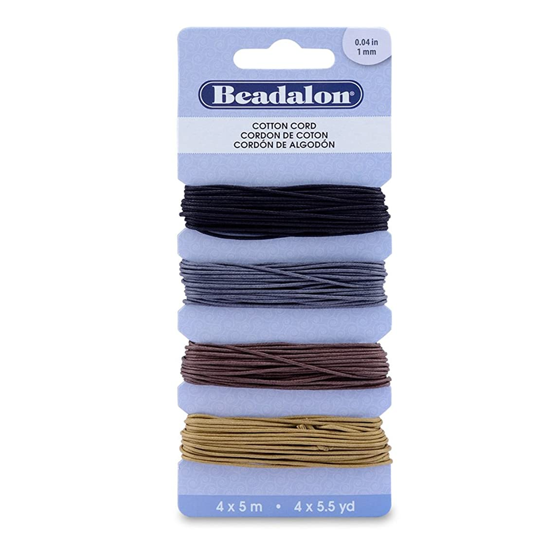 Beadalon Cotton Variety Pack Cord, 1mm/5m, Black/Silver/Brown/Light Brown