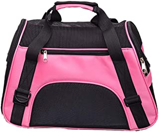 HUI JIN Sac de transport pliable confortable extensible pour chats et chiens Rose Taille L
