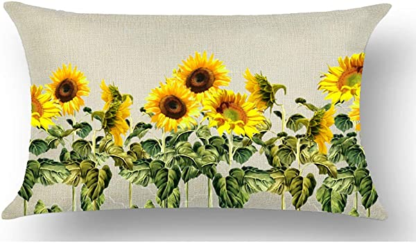 WePurchase Hand Painted Yellow Sunflowers Green Stems Leaves Summer Autumn Fall Y All Decoration Cotton Linen Decorative Home Sofa Living Room Throw Pillow Case Cushion Cover Rectangle 12x20 Inches