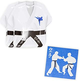 Karate Shaped Plate & Napkin Sets (35+ Pieces for 16 Guests!), Martial Arts Party Supplies, Karate Gi Tableware Sets, Birthday Decorations