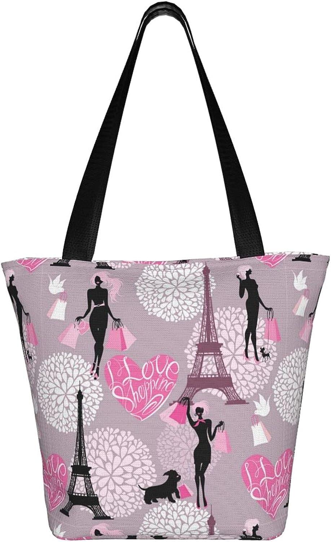 Large Tote Bag Canvas Hobo Bag Daily Work Shoulder Handbag Best Gifts for Women (Polka Dots Black White)