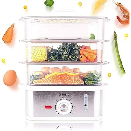 Duronic FS87 Cuiseur vapeur électrique 870W à 3 niveaux | Capacité 10,6 litre | Minuteur | sans bisphénol | Idéal pour cuire viandes, poissons, légumes, pommes de terre, couscous sans matière grasse