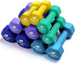 Fitness Alley Neoprene Dumbbell 5 Pairs Set Coated for Non Slip Grip - Hex Dumbbells Weight Set - Neoprene Hand Weight Pairs - Hex Hand Weights Neoprene Dumbbells Combo