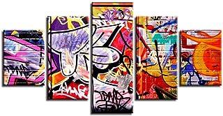 FCFLXJ 5 pinturas sobre lienzo Arte de la pared de lona 5 lienzos Cocina restaurante color graffiti resumen Pintura decorativa Póster Arte Antecedentes Inicio Decoracion Sala de estar Ofi 200X100CM