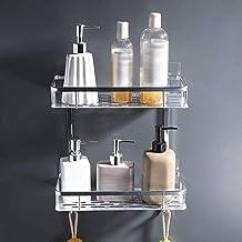 Bathroom Shelves No Drill Rectangle Shower Caddy Organizer Aluminum Wall Mount Shampoo Storage IH (Color : Bright)