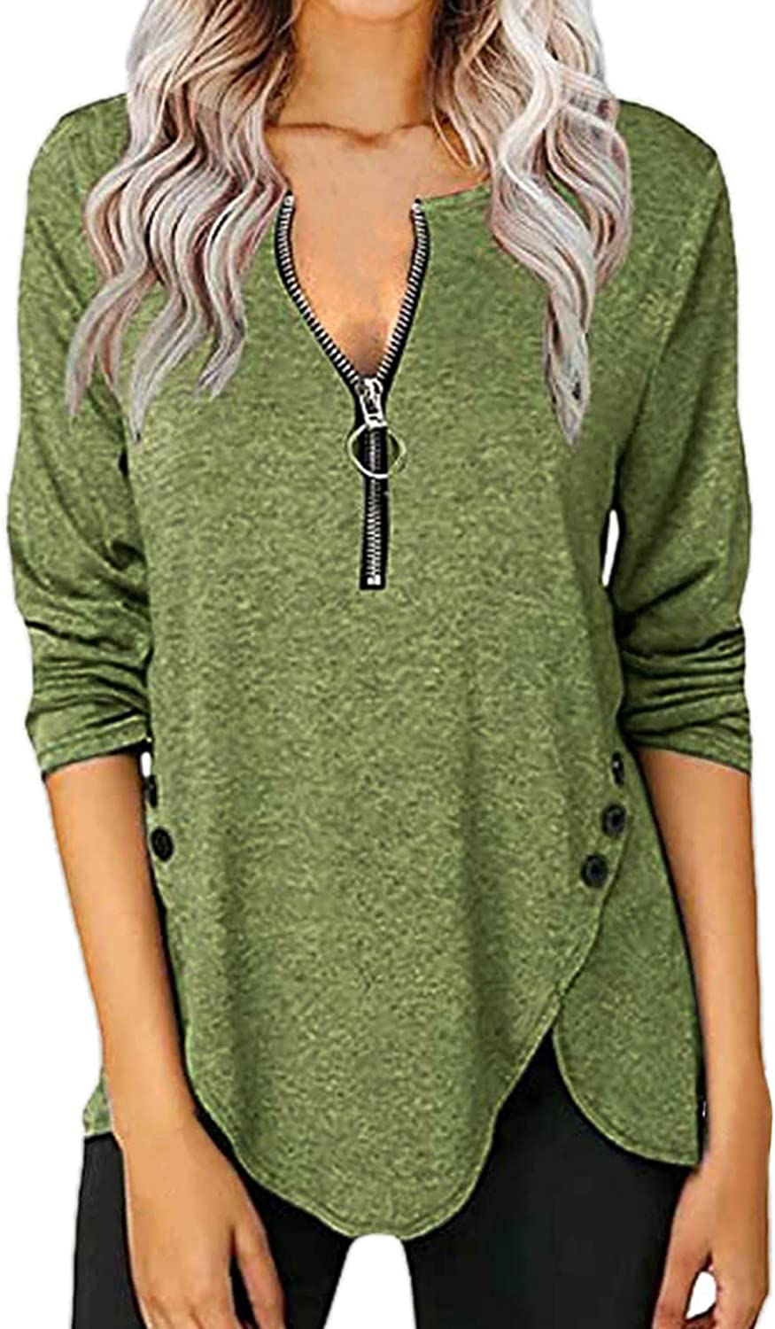 Half Zipper Tunic Shirts for Women V-neck Buttons L Fashion OFFicial site Trendy Side