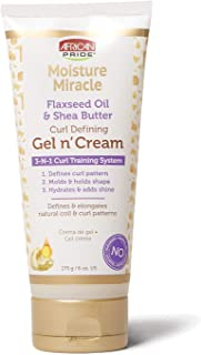 African Pride Moisture Miracle Gel n' Cream - 3-In-1 Curl Training System, Defines Curls, Holds Shape, Hydrates, Adds Shine, Contains Flaxseed Oil & Shea Butter, Defines & Elongates, 6 oz