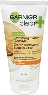 Garnier Clean+ Smoothing Cream Cleanser For Dry Skin, 5 Fluid ounces