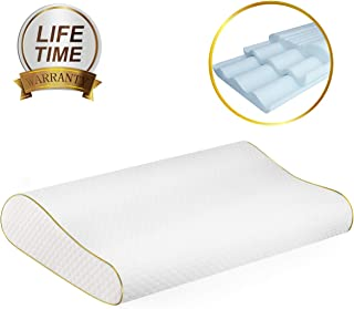 FREESHOW?2020 Newest ! ?Memory Foam Pillow , Adjustable Cervical Pillow for Neck Pain , Orthopedic Contour Pillow for Sleeping, Neck Support for Back, Stomach, Side Sleepers (2 Pillowcases )