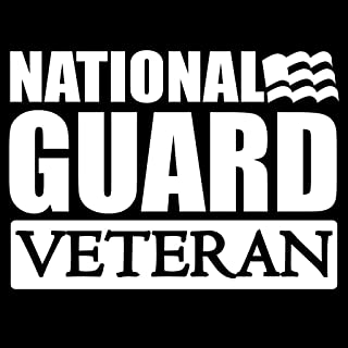 National Guard Veteran Flag Vinyl Decal Sticker | Cars Trucks Vans Walls Laptops Cups | White | 5.5 X 4 Inch | KCD1716