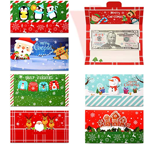 48 Pieces Christmas Money Card Holders Greeting Cards with Envelopes, Christmas Winter Holiday Party Decorations Merry Xmas Party Supplies Holiday Events for Kids Adult (7 x 8.7 Inch)