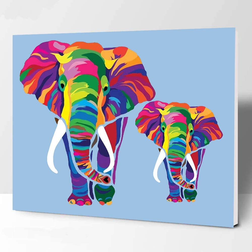 Wooden Frame Elftoyer Paint by Numbers for Kids /& Adults /& Beginner DIY Canvas Painting Gift Kits for Home Decoration Colorful Elephants 12 x 16 inch