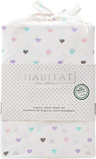 Habitat Kids Certified Organic Cotton Twin Single Bed Sheet Set Multicolored Pastel Hearts