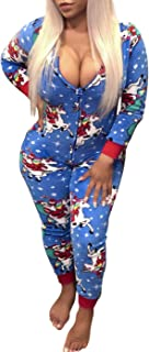 VNVNE Women's One Piece Onsie Print Sleepwear Ugly Christmas Pajamas Jumpsuit Rompers Clubwear Nightwear