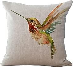ChezMax Linen Blend Ink Painting Birds Pattern Cushion Cover Cotton Pillowslip Square Decorative Throw Pillow Case 18 X 18''