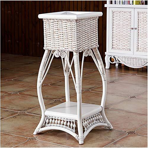 YINUO Balcon blanc simple salon support de stockage de radis vert support de plat en rack rotin intérieur en rotin rotin plateau de fleurs table de fleurs blanc Taille: 35x35x80cm