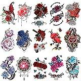 Qpout 15 piezas de tatuajes temporales de flores para mujeres, pegatinas de tatuajes de medio brazo, tatuajes de mariposas de calavera de flores rosas,tatuajes de decoración para adultos,niñas y niños