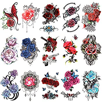 Konsait 15 Sheets Flower Temporary Tattoos for Women Half Arm Tattoos Sleeves Stickers Rose Flower Skull Butterfly Fake Tattoos Arm Chest Shoulder Decorations Tattoos for Adults Girls Kids