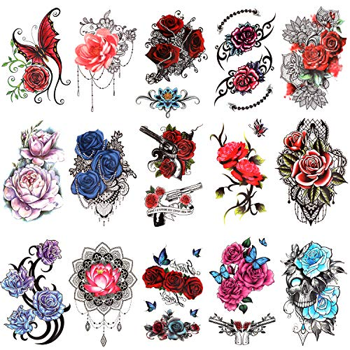 Konsait 15 Sheets Flower Temporary Tattoos for Women, Half Arm Tattoos Sleeves Stickers, Rose Flower Skull Butterfly Fake Tattoos, Arm Chest Shoulder Decorations Tattoos for Adults Girls Kids