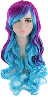 Long Curly Wavy Rainbow Hair Wig for Music Festival, Theme Parties, Costume Party, Fun, Cosplay, Purple and Blue