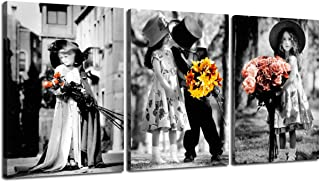 H&H Painting Canvas Cute Children Love Wall Decor Kim Anderson Photography Pictures Wooden 3 Panel Kids Artwork for Living Room Retro Print Modern Framed Gallery Wrap Artwork Ready to Hang