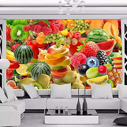 IWJAI Fotomural Vinilo Fruta fresca vegetal cocina, restaurante, frutería Papel pintado mural impermeable autoadhesivo Pintura de pared estéreo 3D Pegatinas extraíbles para dormitorio infantil
