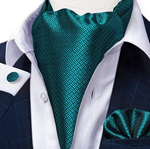 ZorYer Krawattenschal Blaugrüne Blaue Männer Vintage Hochzeit formelle Krawatte Ascot Krawatten Einstecktuch Set Paisley Blumen Männer Seide Krawatte S607