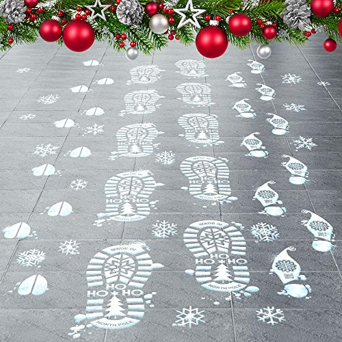 Colonel Pickles Novelties Santa Footprints - 90 Ct Footprint Floor Stickers Kit with Reindeer & Elf