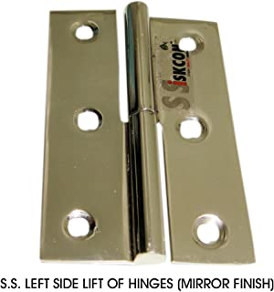 SSiSKCON 100% STAINLESS STEEL Detachable Hinge for Boat Doors Windows Cabinets Hinge 3 inch MARINE GRADE Mirror Polished Finish -32(629),Left SIDE(Set Of 2 Pcs.With Screws) heavy duty