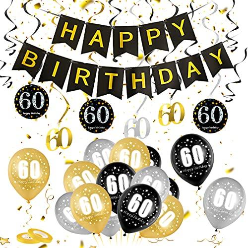 60 Oro Negro Plata Globos Cumpleaños Decoracione, 60 Años de Antigüedad Fiesta de Cumpleaños Decoraciones, 60 Oro Negro Plata Globos Decoración Hombres y Mujeres, 60 Cumpleaños Adorno en Espiral